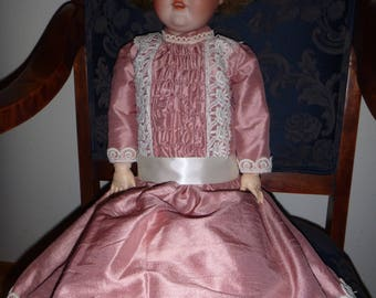 Silk French Plastron style dress for your 30-32 inch doll