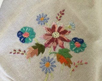 """Hand embroidered cloth. 30"""" square"""