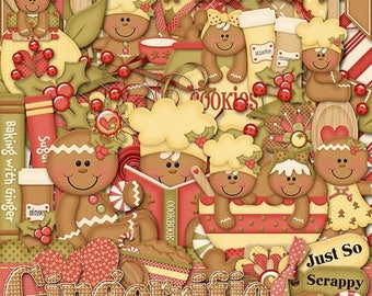 On Sale 50% Christmas Gingerrific Digital Scrapbook Kit, Holiday, Gingerbread