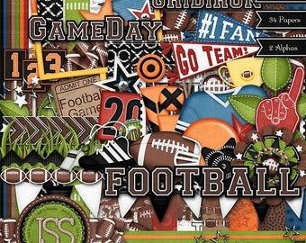 On Sale 50% Digital Scrapbooking Kit Touchdown Football - Digital Scrapbook