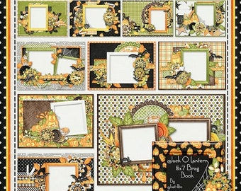 On Sale 50% Digital Scrapbooking Halloween Jack O Lantern 5x7 Brag Book Pages Digi Scrap Kit
