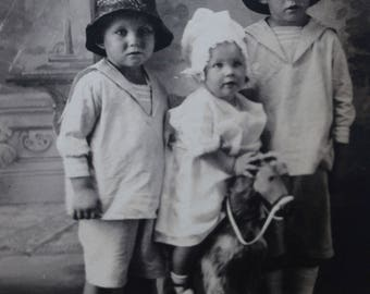 RPPC 1904-1918 AZO 3 Children 2 Brothers Sister on Toy Horse