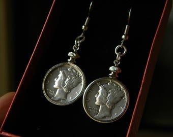 Earrings set silver vintage authentic Mercury dime coins readable dates dangle drop  earrings