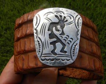 Native Indian Hopi Kokopelli sterling silver Genuine brown  Alligator  leather cuff bracelet   ketoh wristband customize to wrist size