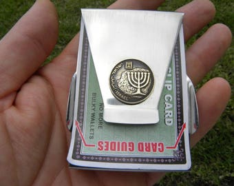 Authentic vintage Israel Menorah Holly land coin   Men Jewish Money clip Double side Stainless steel nice gift for Hanukkah Bar Bat Mitzvah