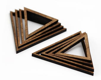 8 Concentric Equilateral Triangle Wood Beads : Walnut Plywood
