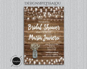rustic bridal shower invitation rustic bridal shower invitation template you edit rustic wedding - Rustic Wedding Shower Invitations