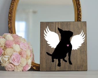 Custom Angel Silhouette of Your Dog Hand Painted on Wood, Pet Memorial, Pet Loss