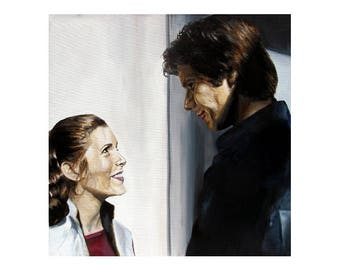 Fly Boy and Her Worship - Princess Leia / Carrie Fisher and Han Solo / Harrison Ford Star Wars Art Print (Unframed)