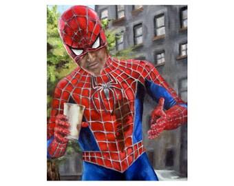 The Amazing Spiderman Needs Coffee - Superhero Spiderman Art Print (unframed)