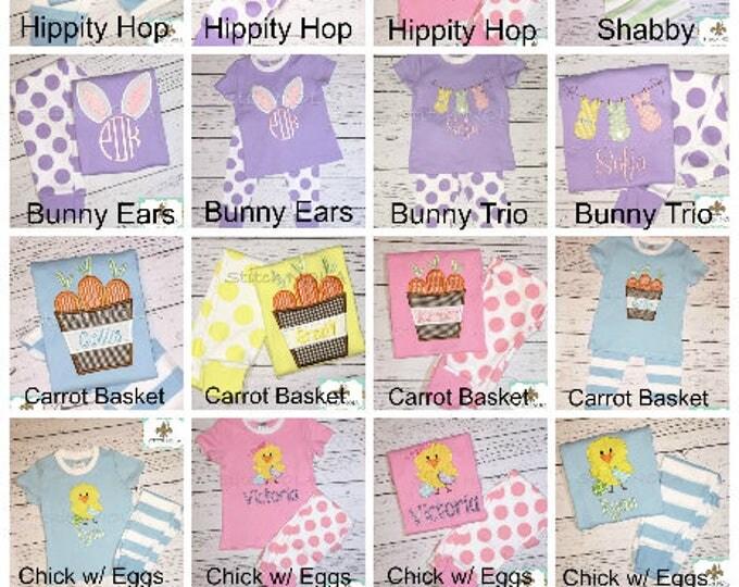 Featured listing image: Easter Pajamas, Spring Pajamas, Bunny Applique, Monogrammed Pajamas, Easter Applique, baby's 1st Easter, First Easter, First Easter Pajamas