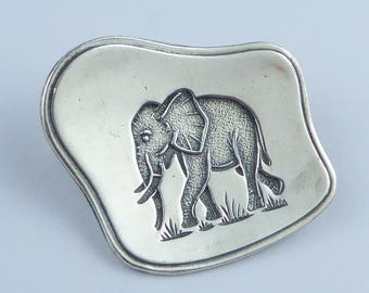 South African silver Elephant brooch