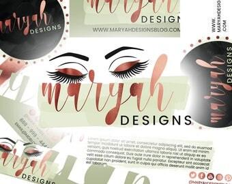 6 Piece Premade Branding Set Design   Rose Gold Logo   Foil Logo Design   Fashion Beauty Logo Design   Wordpress Logo   Blogger Logo