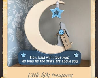 Hare & Moon : How long will i love you ... chunky freestanding wooden keepsake by little kids treasures . Free personalised name tag