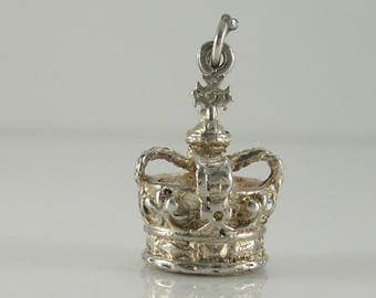 Vintage 3D Sterling Silver Royal Crown Charm