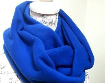 Fleece Infinity Scarf - Deluxe Fleece Infinity Loop Scarf , Neckwarmer Cowl Scarf ,Winter Fleece scarf Plain Royal Blue
