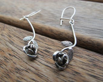 Silver Flower Earrings - Rose Earrings - Flower Earrings - Sterling Silver Earrings - Dangle Earrings - Nature Earrings - Rose Jewelry