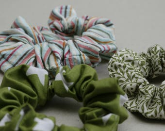 Set of colorful cotton scrunchies