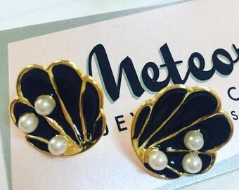 Shell Earrings, Enamel, The Tahitian, Black Vintage Inspired Earrings