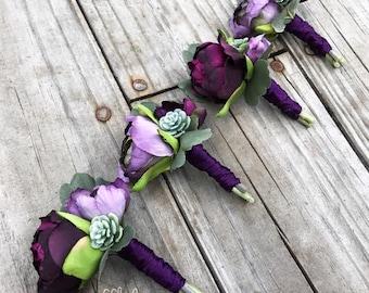 Plum Boutonniere, Succulent Boutonniere, Purple Boutonniere, Plum and Iris, Boutonniere