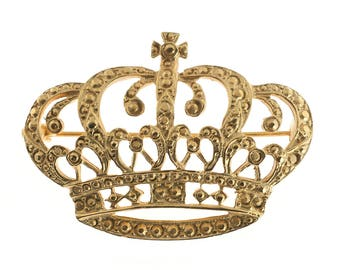 Gold Plated Crown Brooch