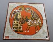 Nativity Theme - Vintage Unused Swiss Fisba Batik Style Cotton Hankie Handkerchief