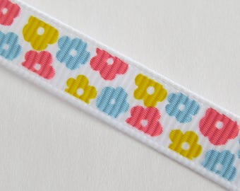 Pretty White Ribbon with yellow and blue flowers pattern