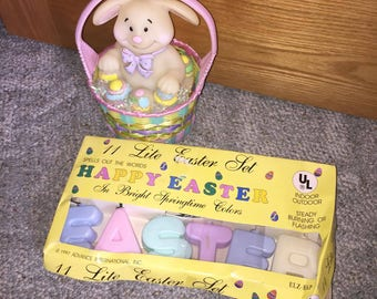 Easter bunny in basket and easter lights blow molds yard decorations plastic light up