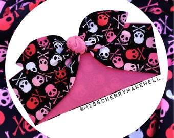 Pink Skull and Crossbones Rockabilly 1950's Pin Up Punk Alternative Inspired Head Scarf Hair Tie Headscarf Hair Bow by Miss Cherry Makewell