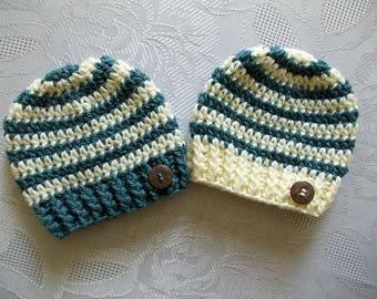 Twin boy hats Crochet twin hats Striped twin hats Baby boy hats Twin newborn hats Twin button hats Twin boy outfits Twin boy beanies