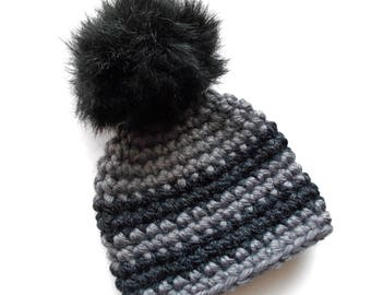 Pom pom baby hat Faux fur pom hat Baby boy hat Winter baby hat Striped baby hat Wool baby hat Crochet baby boy hat Newborn boy outfit