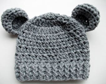 Wool bear hat Gray bear hat Newborn hat with ears Baby boy hat Newborn bear hat Wool baby hat Baby animal hat Gray baby hat Crochet baby hat