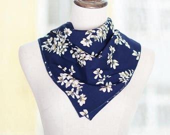 navy floral square neck scarf,chiffon scarf,mini neck scarf,multi-function scarf,women scarf,square scarf,floarl scarf