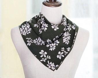 green floral square neck scarf,chiffon scarf,mini neck scarf,multi-function scarf,women scarf,square scarf,floarl scarf