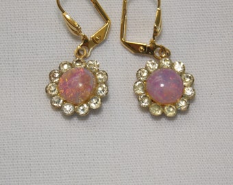 Vintage Faux Opal and Rhinestone and Earrings