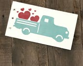 Vintage truck sign with hearts, truck with hearts, love sign, valentine decor, valentine sign, valentine on reclaimed wood, love decor