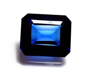 60% OFF  - Sapphire, Blue Sapphire Gemstone 17x14x8 mm Emerald Cut Stone - Faceted Sapphire Lab Created Sapphire Stone (A-67)
