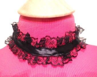 Black Lace Choker Necklace Satin Ribbon Handmade Jewelry Victorian Style Fashion Accessories