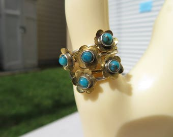 Handcrafted Natural Copper Blue Turquoise 14KT Gold/ 925 Sterling Silver Ring Size 7, Weight 5.7