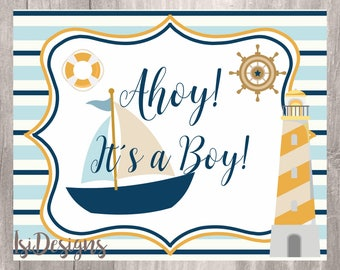 Nautical Baby Shower Sign, Nautical Baby Shower Decoration, INSTAND DOWNLOAD, Navy and Yellow Ahoy Its a Boy Baby Shower Printable Sign