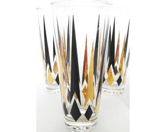 Mid Century Black and Gold Tall glasses