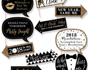 Funny New Year's Eve Photo Booth Props - Gold and Black Photobooth Prop Kit - 2018 New Year's Party Props Kit - 10 Photo Props & Dowels