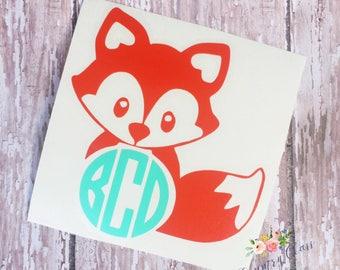 Monogram Fox Decal || Yeti Decal || Car Decal || Laptop Decal