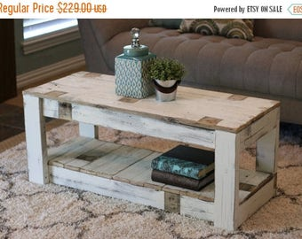 SALE White Farmhouse Coffee Table with Shelf