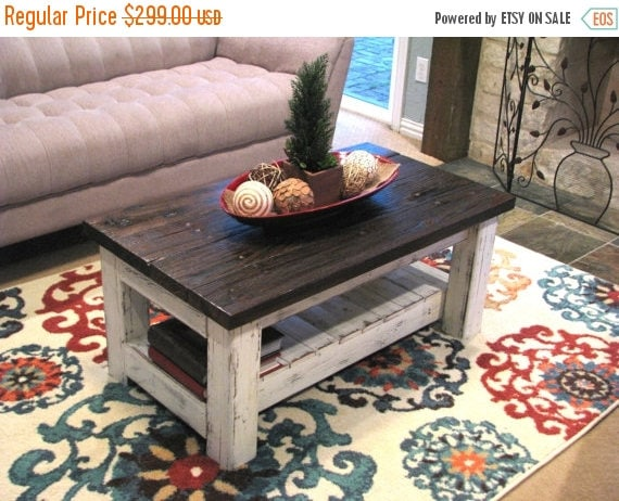 Reclaimed White Rustic Coffee Table with Brown Top