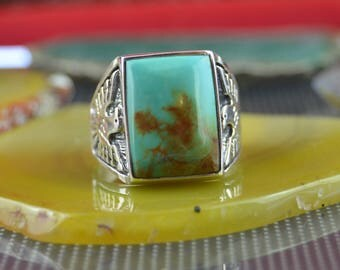 Navajo sterling silver and sleeping beauty turquoise cast thunderbird ring size 11