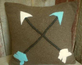 Repurposed Wool Sweater Pillow~Arrows