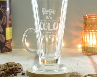 Personalised Cold Outside Hot Chocolate Latte Glass