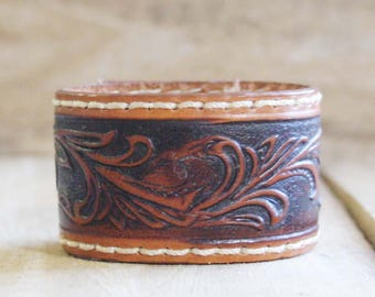 CUSTOM HANDSTAMPED brown leather cuff with tooled design and stitching by mothercuffer