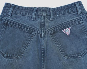 Vintage USA 1980's Iconic GUESS Zip Leg JEANS George Marciano Faded Black Denim Womens 29.5 waist-